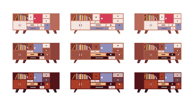 Set of retro sideboards with drawers and bookshelves Premium Vector