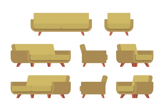Set of retro sofa and armchair Premium Vector