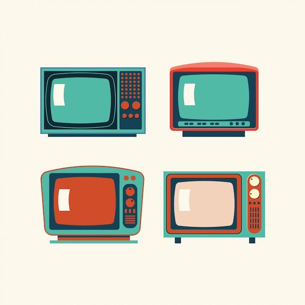 Set of retro tv illustration Premium Vector