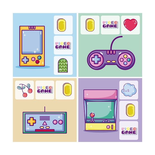 Set of retro videogames cards Premium Vector