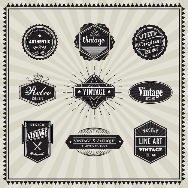 Set of retro vintage badge linear thin line art deco design Premium Vector