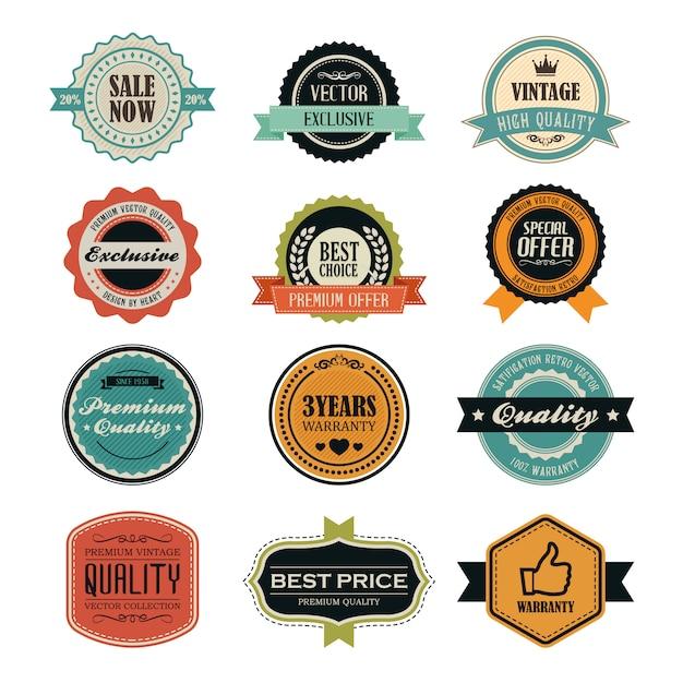 Set of retro vintage badges and labels Premium Vector