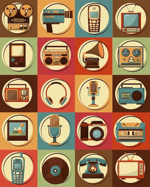 Set of retro vintage devices classic design Premium Vector