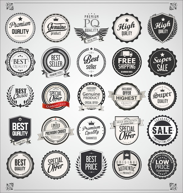 Set of retro vintage labels and badges Premium Vector
