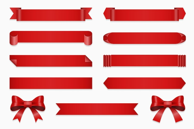Set of ribbons for anniversary. banner and bow, straight red tape isolated on white background illustration Free Vector