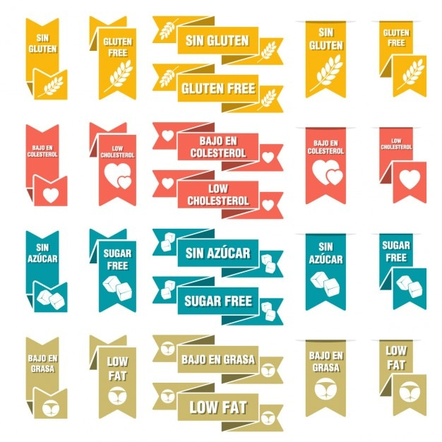 Set of ribbons for food Free Vector