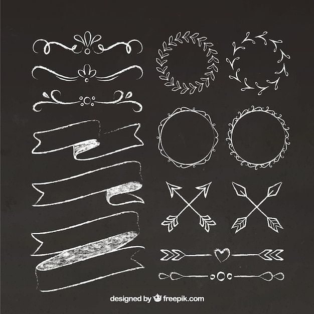 Set di nastri, cornici e frecce in stile lavagna Vettore gratuito