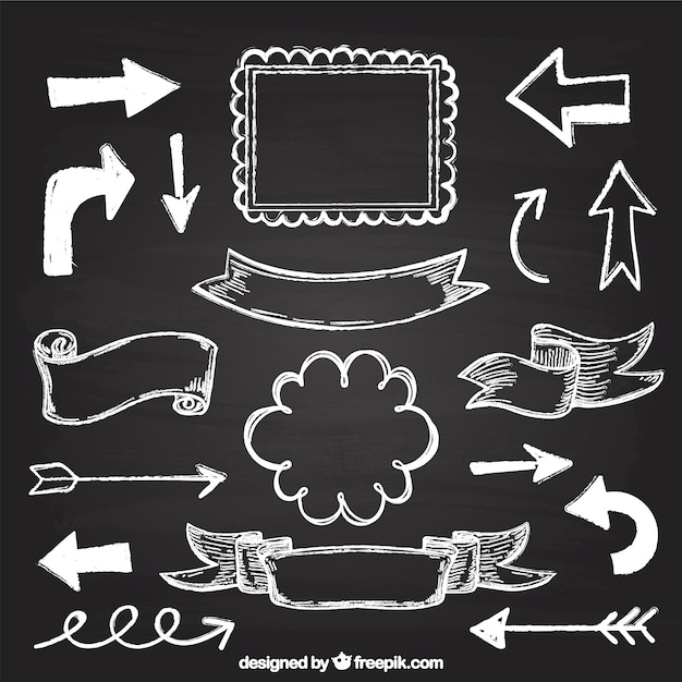 Set of ribbons, frames and arrows in blackboard style Premium Vector