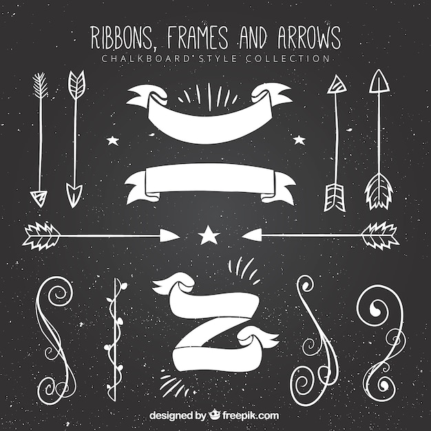 Set of ribbons, frames and arrows in blackboard style Free Vector