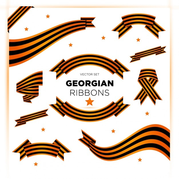 Set of ribbons for victory day and 23 february Free Vector
