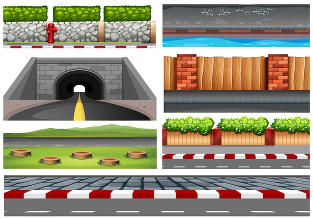 Set of road objects Free Vector