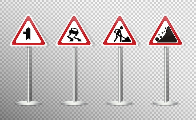 Set of road signs isolated on transparent . . Premium Vector