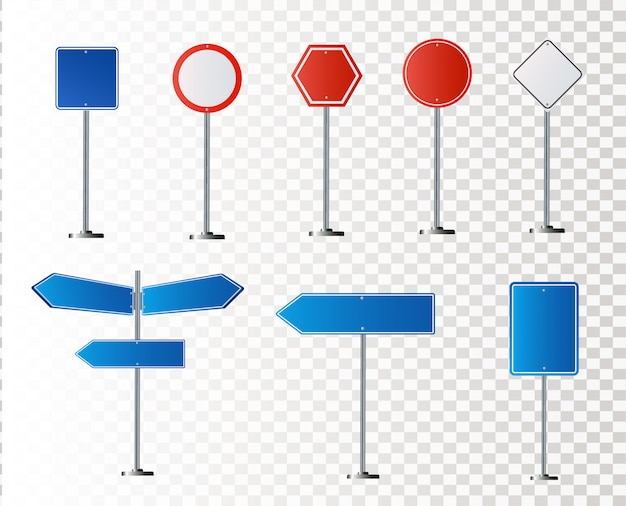 Set of road signs isolated on white background. illustration Premium Vector