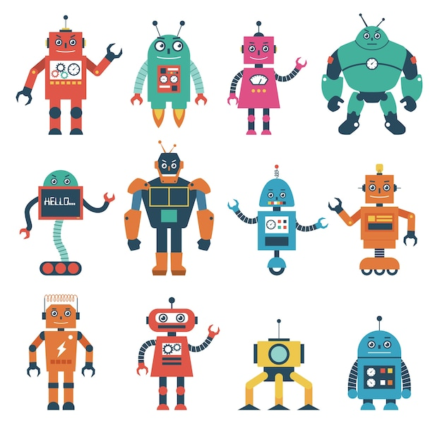 Set of robot characters isolated on white background Premium Vector