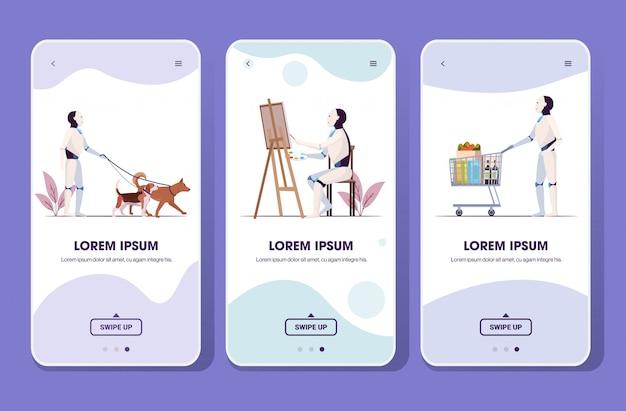 トロリーカートを押す犬の図面と一緒に歩くロボットを設定します。人工知能技術コンセプトスマートフォン画面コレクションモバイルアプリ全長コピースペース水平 Premiumベクター