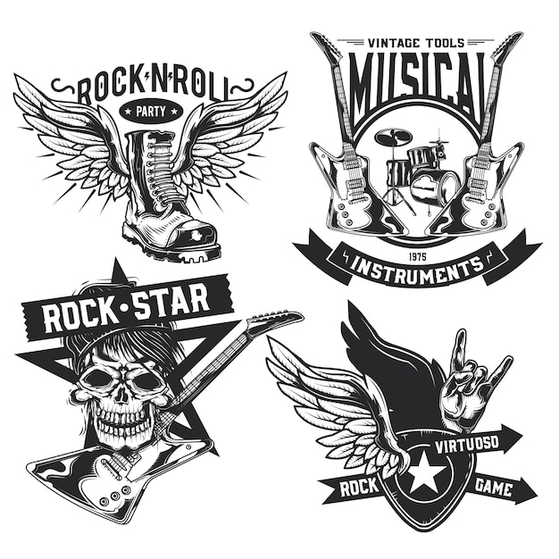 Set of rock elements (skull, boot, drums, wings, guitar, picks) emblems, labels, badges, logos. Free Vector