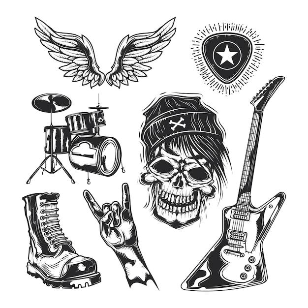 Set di elementi rock (teschio, stivale, batteria, ali, chitarra, plettri) Vettore gratuito