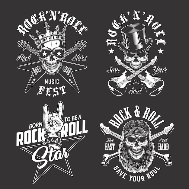 Set of rock and roll emblems Free Vector