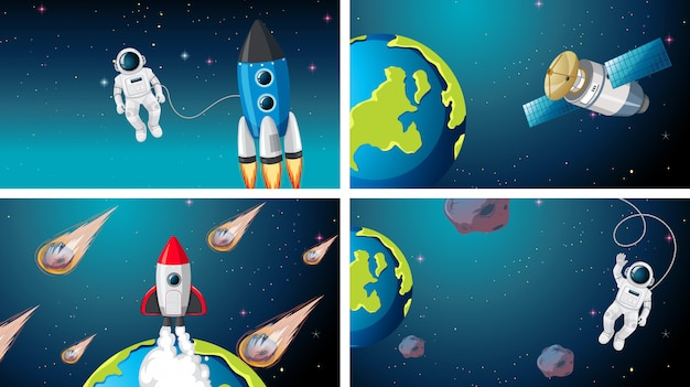 Set of rocket, astronaut and satellite scne Free Vector