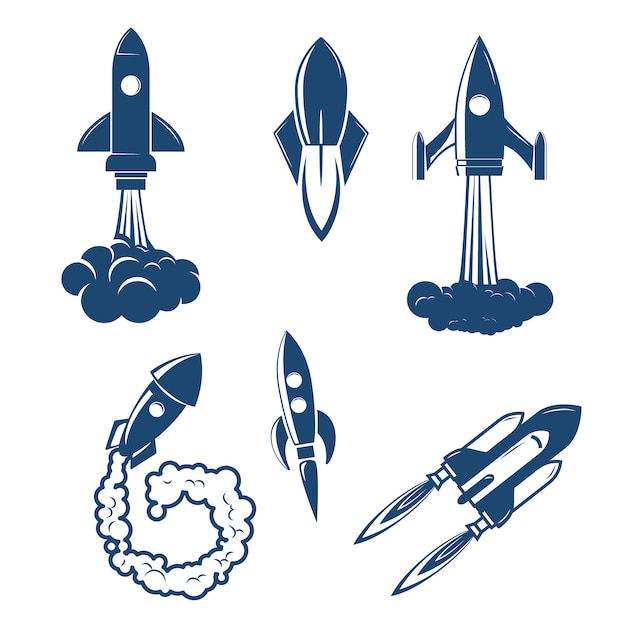 Set of the rocket launches Premium Vector