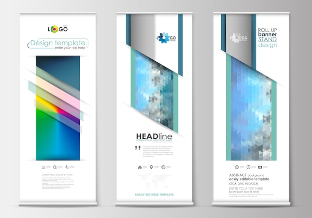 Set of roll up banner stands, flat design templates, geometric style with mesh gradient Premium Vector