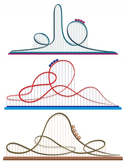 Set of roller coasters. illustrations in cartoon style isolated on white background. Premium Vector
