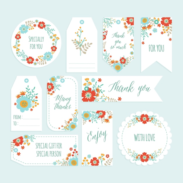 Set of romantic flower thank you tag set with hand drawn spring flower. Premium Vector