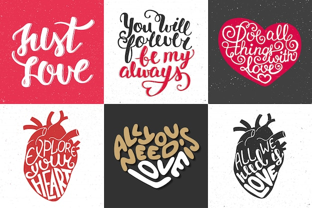 Set of romantic  hand drawn typography Premium Vector
