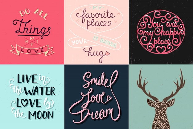 Set of romantic hand drawn unique typography Premium Vector