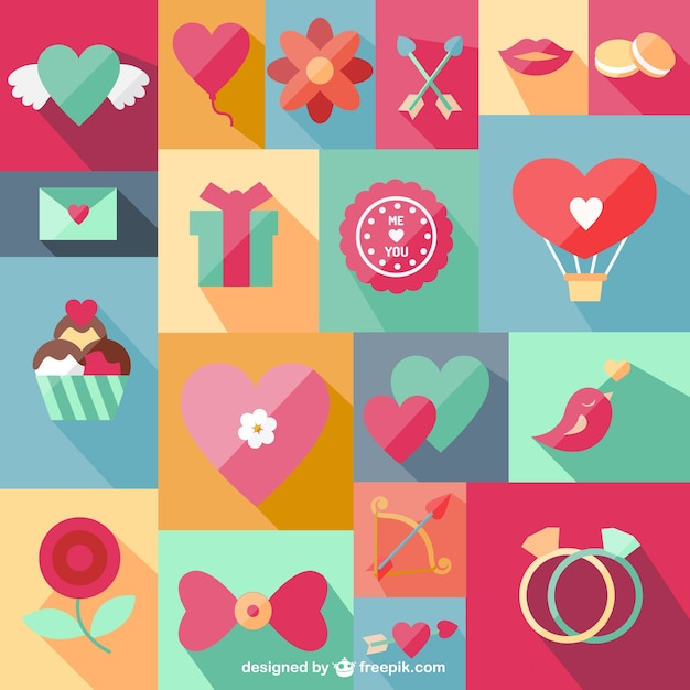 Set of romantic symbols Free Vector