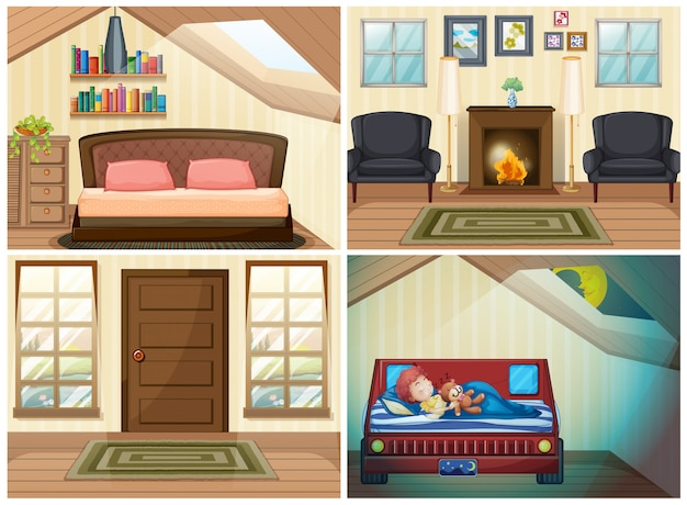 Set of room in the house Free Vector