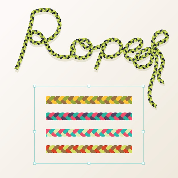 Set of rope braid different color with typography design Premium Vector