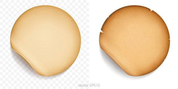 Set of round adhesive stickers with a folded edges. old paper and vintage parchment. detailed template of old style labels. empty mockup of tags with a realistic textures. transparent shadows. Premium Vector