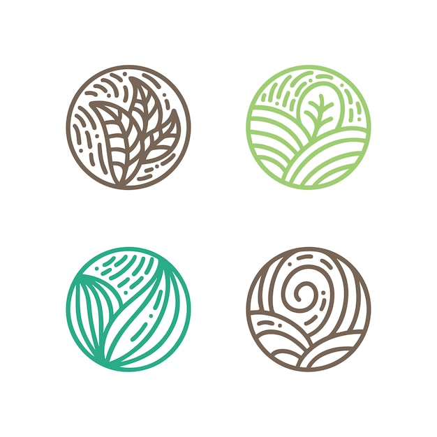 Set of round bio emblems in a circle linear style. Premium Vector