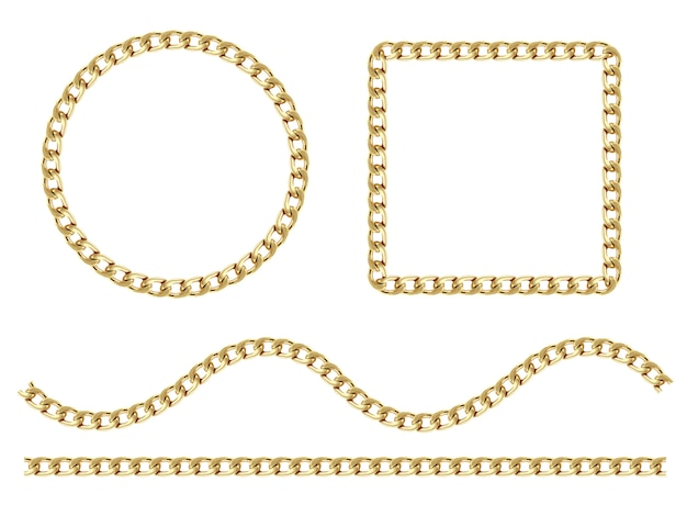Set of round chain necklace frame. collection of thick and thin circles isolated on the white Premium Vector