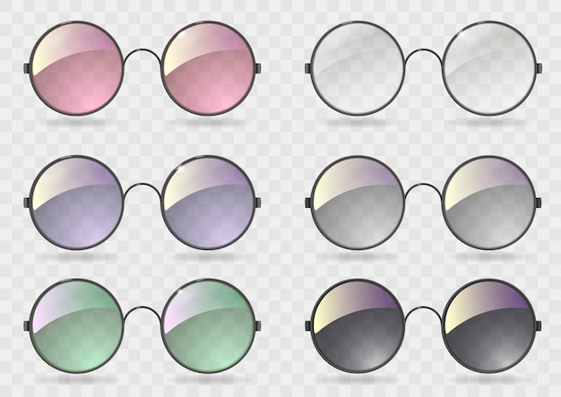 Set round glasses with different glass Premium Vector