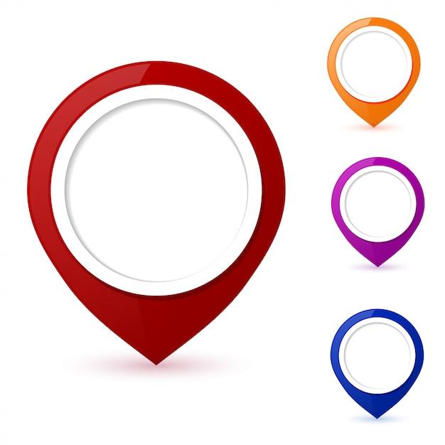 Set of round map pointers Premium Vector