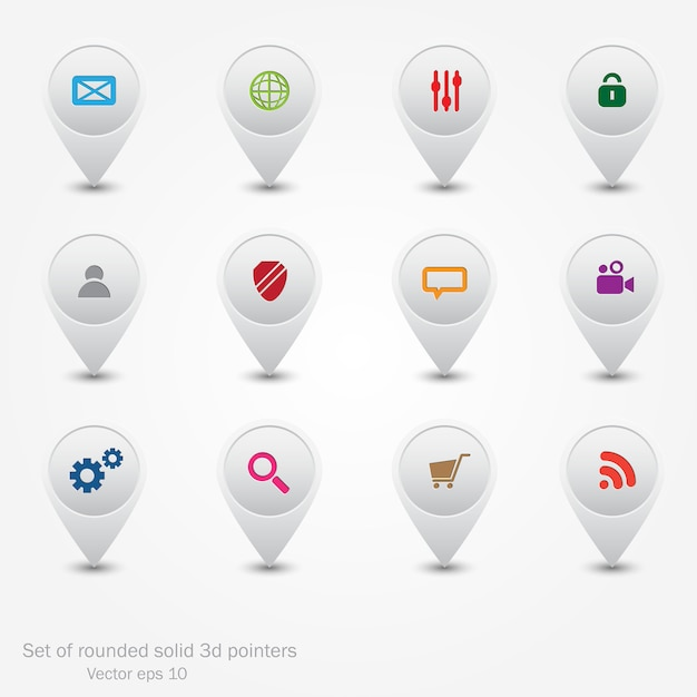 Set of round pointers.web icons. Premium Vector