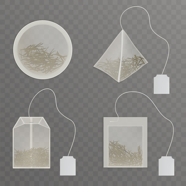 Set round, rectangle, square, pyramid shaped tea bags Free Vector