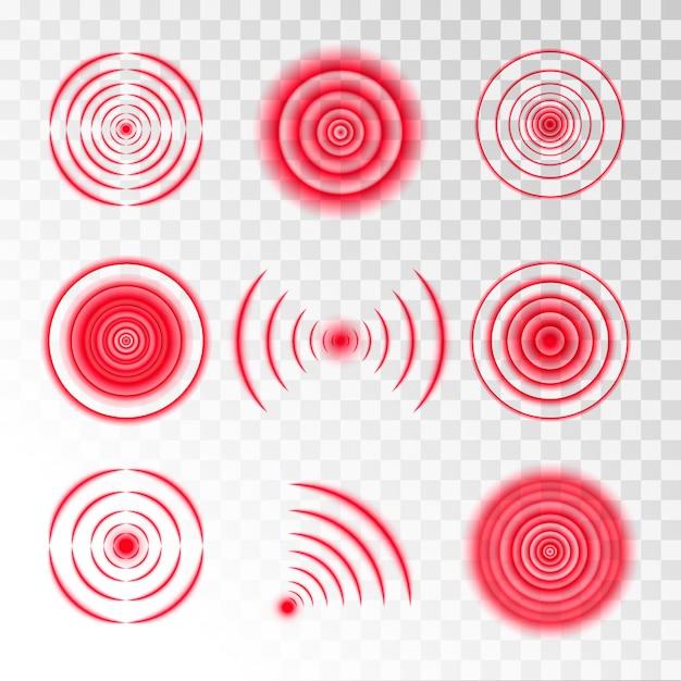 Set of round red signals Premium Vector