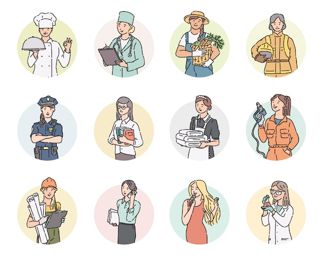 Set round women different professions. labor day people illustration in line art style in professional uniform. Premium Vector