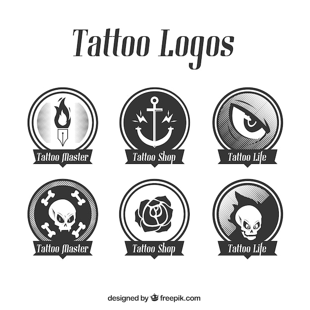 Set of rounded logos tattoo Free Vector