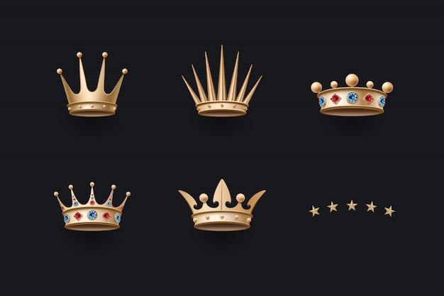 Set of royal gold crown and five stars icons Premium Vector