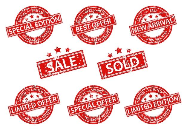 Set of rubber stamps sale Premium Vector