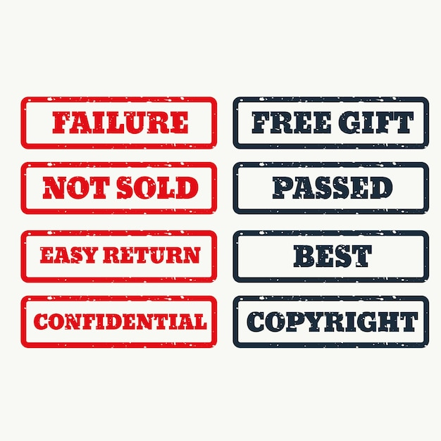 Set of rubber stamps with various texts Free Vector