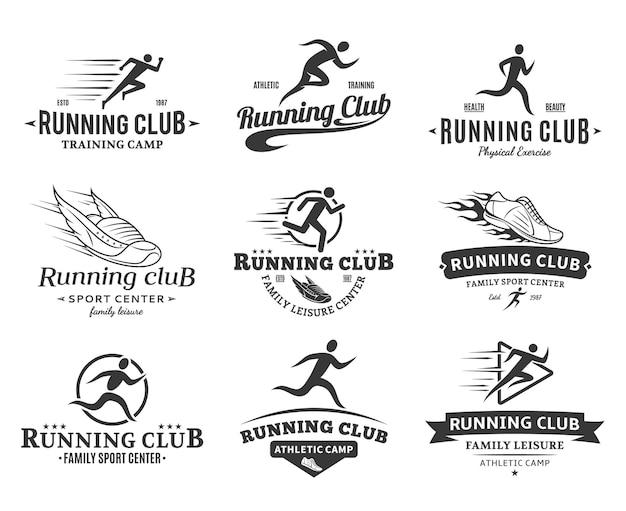 Set of running club logo templates. Premium Vector