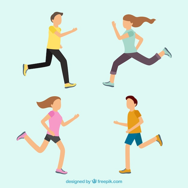 Set of running people Free Vector