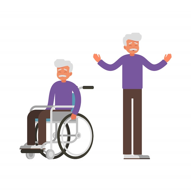 Set of sad old man sits in wheelchair and happy man stands with raised arms. Premium Vector