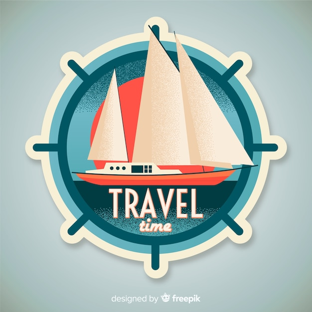 Set sail boat label with vintage effect Free Vector