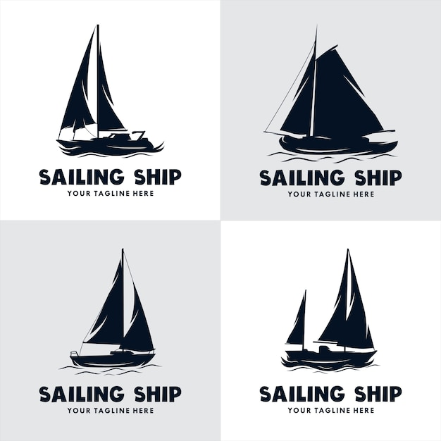 Set of sailing ship logo Premium Vector